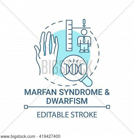 Marfan Syndrome And Dwarfism Blue Concept Icon. Chromosome Mutation. Health Care. Genetic Disorder I