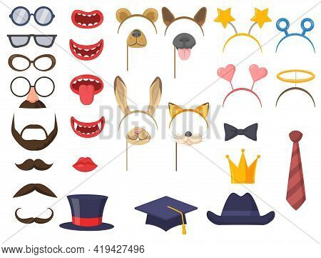 Set Of Party Accessories For Photobooth. Cartoon Vector Illustration. Funny Carnival Masks, Ears, Mo