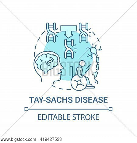 Tay Sachs Disease Blue Concept Icon. Problem With Nerve Cells. Inherited Illness. Genetic Disorder I