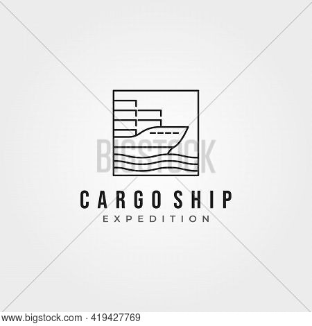 Minimalist Cargo Ship Icon Logo Vector Line Art Illustration Design