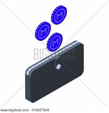 Crypto Cash Icon. Isometric Of Crypto Cash Vector Icon For Web Design Isolated On White Background