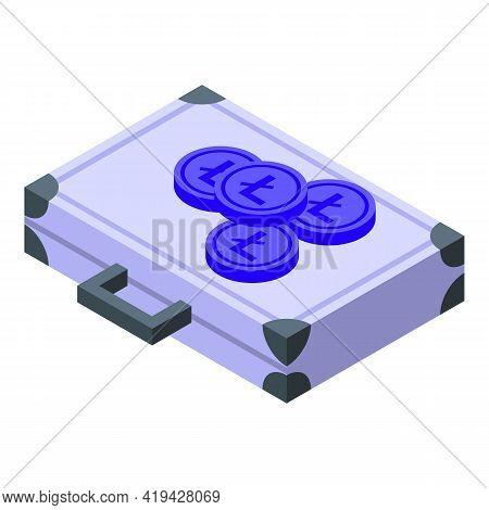 Crypto Suitcase Icon. Isometric Of Crypto Suitcase Vector Icon For Web Design Isolated On White Back