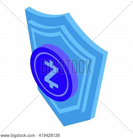Protected Crypto Icon. Isometric Of Protected Crypto Vector Icon For Web Design Isolated On White Ba