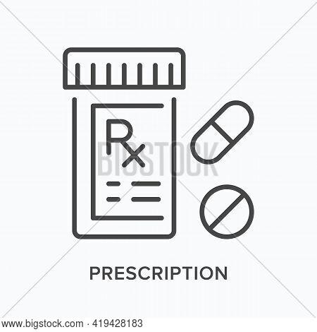 Prescription Flat Line Icon. Vector Outline Illustration Of Drug Bottle. Black Thin Linear Pictogram