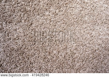 Beige Or Tan New Carpet Macro Shot. Fabric Texture Of Carpet For Background Or Design In High Resolu