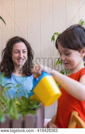 Boy Helps Mom Take Care Of House Plants, Child Watering Flowers, Woman Teaches Son To Take Care Of P