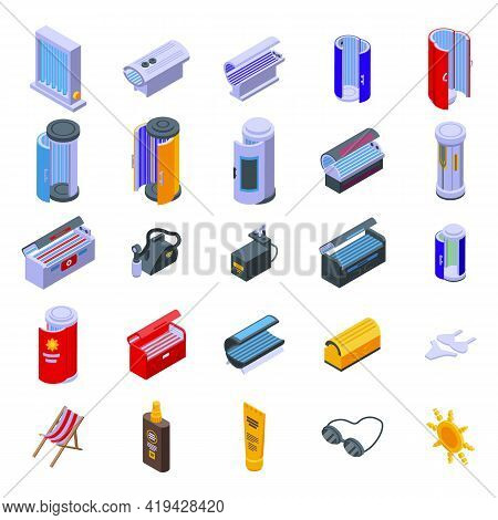 Solarium Icons Set. Isometric Set Of Solarium Vector Icons For Web Design Isolated On White Backgrou