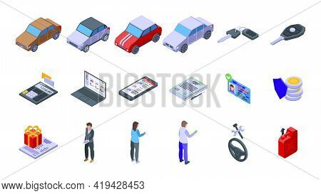 Buying Car Icons Set. Isometric Set Of Buying Car Vector Icons For Web Design Isolated On White Back