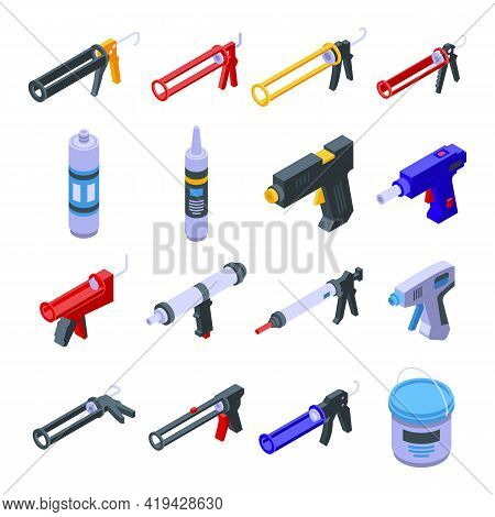 Silicone Caulk Gun Icons Set. Isometric Set Of Silicone Caulk Gun Vector Icons For Web Design Isolat