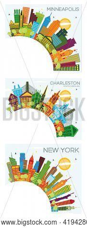 New York USA, Minneapolis Minnesota and Charleston South Carolina City Skyline Set with Color Buildings, Blue Sky and Copy Space.