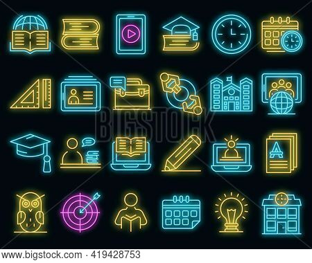 Tutor Icons Set. Outline Set Of Tutor Vector Icons Neoncolor On Black