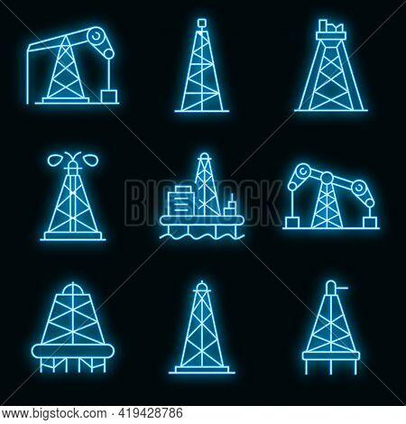Derrick Oil Icons Set. Outline Set Of Derrick Oil Vector Icons Neoncolor On Black