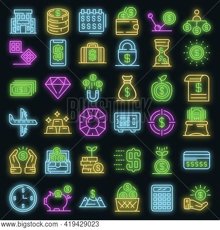 Millionaire Icons Set. Outline Set Of Millionaire Vector Icons Neoncolor On Black