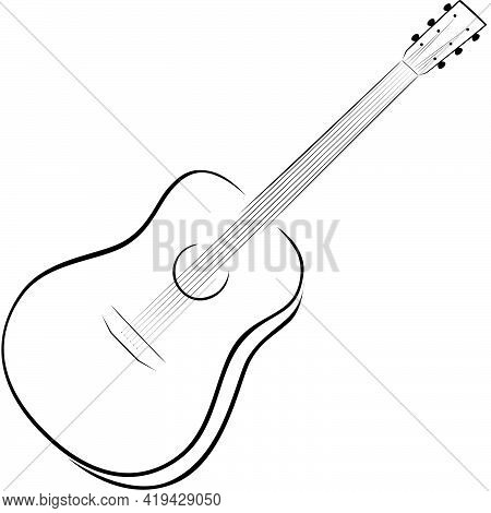 Simple Vector Drawing Of An Acoustic 6-string Guitar In Black Color, Theme Music