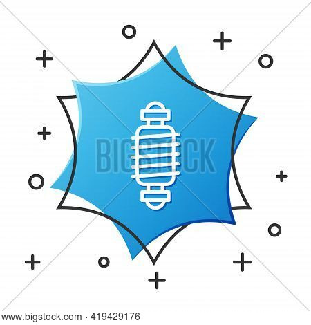 White Line Bicycle Suspension Icon Isolated On White Background. Blue Hexagon Button. Vector