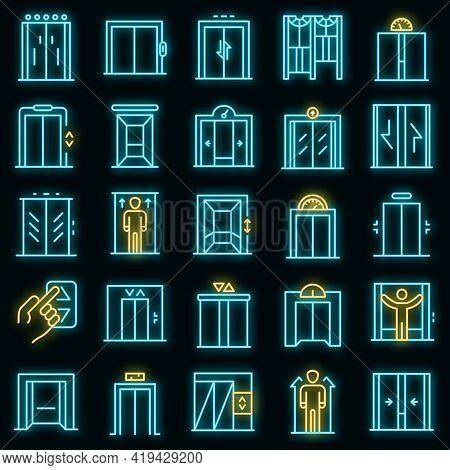 Elevator Icons Set. Outline Set Of Elevator Vector Icons Neoncolor On Black