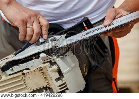 Khmelnitsky. Ukraine. June 22, 2019.stihl Chainsaw In Khmelnitsky. Stihl Is A German Manufacturer Of