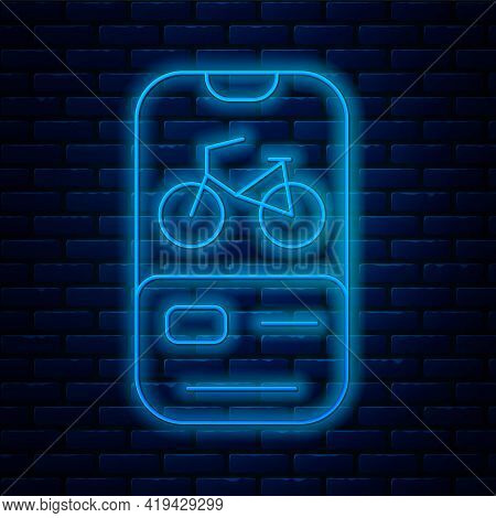Glowing Neon Line Bicycle Rental Mobile App Icon Isolated On Brick Wall Background. Smart Service Fo