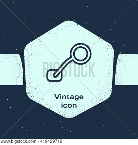 Grunge Line Bicycle Rear View Mirror Icon Isolated On Blue Background. Monochrome Vintage Drawing. V