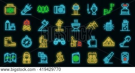 Hiking Icons Set. Outline Set Of Hiking Vector Icons Neoncolor On Black
