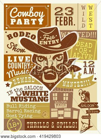 Cowboy Poster With Saloon And Wanted Dead Or Alive Symbols Flat Vector Illustration