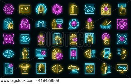 Biometric Authentication Icons Set. Outline Set Of Biometric Authentication Vector Icons Neoncolor O