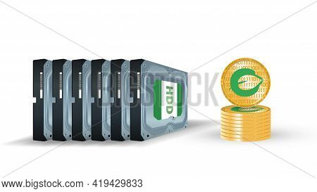 Hard Disk With Coins Of Cryptocurrency Chia On A White Background. Mining On Hdd, Ssd. The Concept O