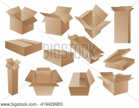 Boxes. Cardboard box mockup set. Mail containers in various shapes. Collection of brown recycling cardboard delivery boxes or postal parcel packaging, realistic  illustration