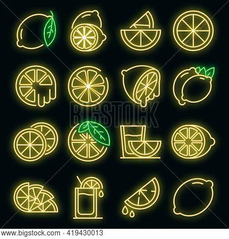 Lime Icons Set. Outline Set Of Lime Vector Icons Neoncolor On Black