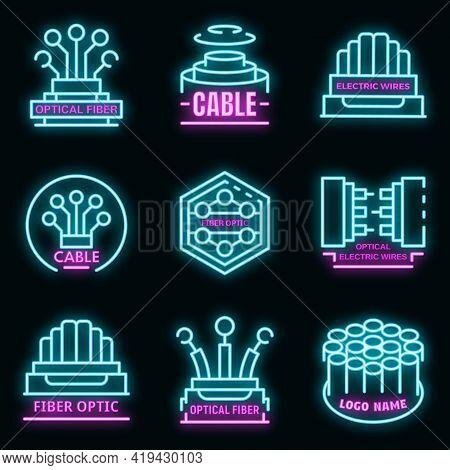 Optical Fiber Logo Set. Outline Set Of Optical Fiber Vector Logo Neoncolor On Black