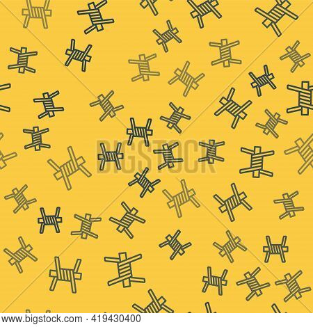 Blue Line Barbed Wire Icon Isolated Seamless Pattern On Yellow Background. Vector
