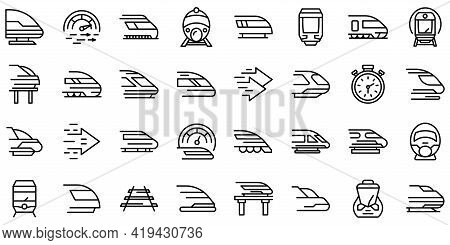 High-speed Transportation Icons Set. Outline Set Of High-speed Transportation Vector Icons For Web D