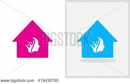 Charity House Logo Design. House Logo With Charity Concept Vector. Charity And Home Logo Design