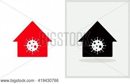 Corona House Logo Design. Home Logo With Corona Concept Vector. Corona And Home Logo Design