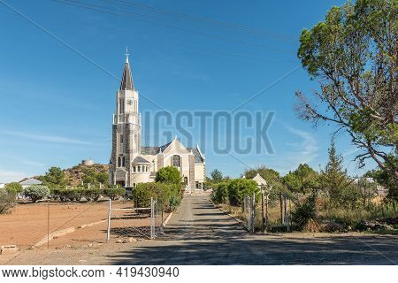Hanover, South Africa - April 2, 2021: Entrance To The Historic Dutch Reformed Church In Hanover In