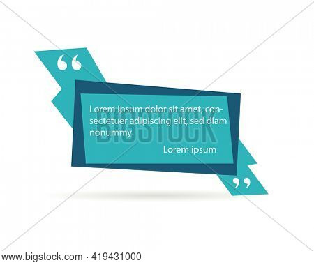 Quote frame or mention quotations remarks template. Info tag, quote textbox blog or discussion citation memo word label. Speech sticker or comment box badge