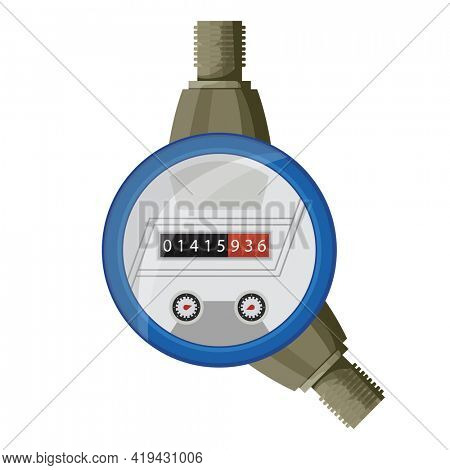 Meter counter. Water power measurement. Cold water meter to record consumption. Isolated  cartoon icon on white background