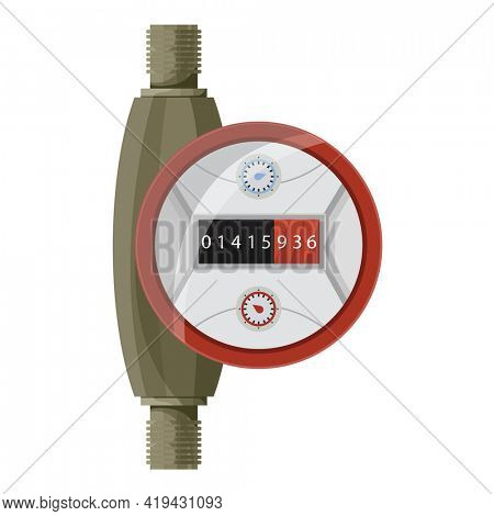 Meter counter. Water power measurement. Hot water meter to record consumption. Isolated  cartoon icon on white background