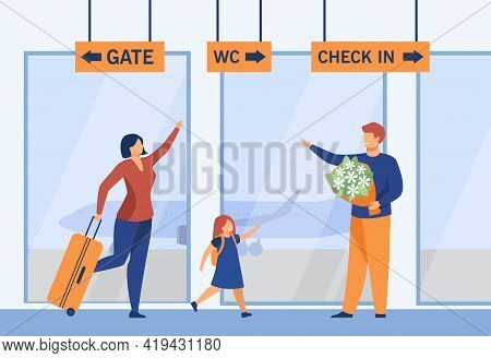 Happy Family Reunion At Airport Flat Vector Illustration. Smiling Man Holding Flowers, Meeting His W