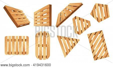 Wooden pallet. Platforms for freight transportation collection. Cargo logistics and distribution. Cartoon set of wood pallet  icons for web design