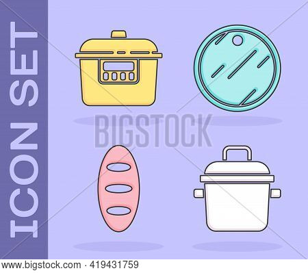 Set Cooking Pot, Slow Cooker, Bread Loaf And Cutting Board Icon. Vector