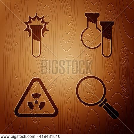Set Magnifying Glass, Test Tube And Flask, Triangle With Radiation And Test Tube And Flask On Wooden
