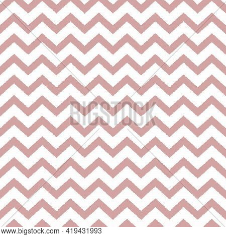 Seamless Dusty Pink And White Zigzag Pattern, Vector Illustration. Chevron Zigzag Pattern With Pink