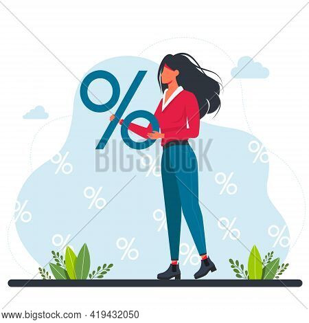 Woman Holding A Big Percent Sign. A Girl Are Holding A Big Percent Sign. Discounts On Goods, Promoti