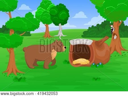 Wild Grizzly Bear Going To Den. Cartoon Vector Illustration. Cute Wild Bear Walking To Sweet Home, N