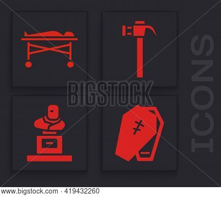 Set Coffin With Cross, Dead Body In The Morgue, Hammer And Grave With Tombstone Icon. Vector