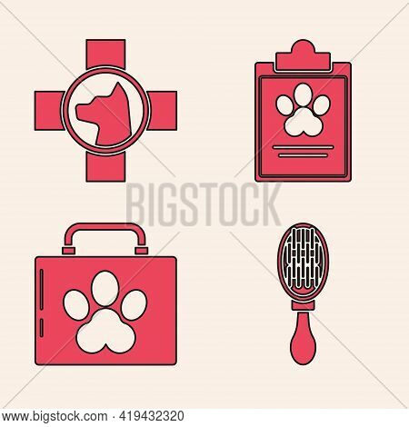 Set Hair Brush For Dog And Cat, Veterinary Clinic Symbol, Clipboard With Medical Clinical Record Pet