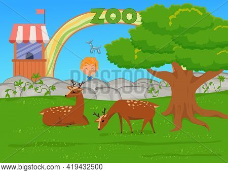 Child With Animal Balloon Looking At Deer In Zoo Illustration. Spotted Mammals With Antlers Lying An