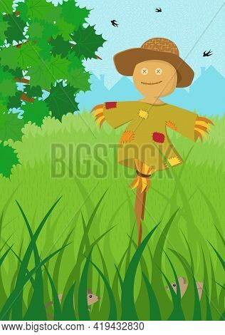 Scarecrow In Green Field Summer Poster. Farm On Nature Rural Background With Tree Foliage And Tall G