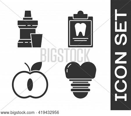 Set Dental Implant, Mouthwash Plastic Bottle, Apple And Clipboard With Dental Card Icon. Vector